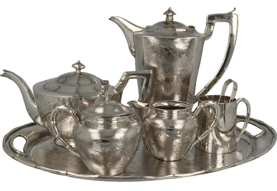 7-Piece coffee and tea tableware silver.