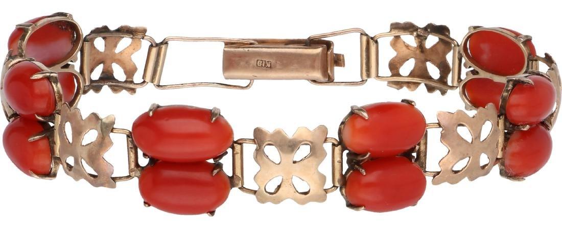 Antique bracelet rose gold, with blood coral - Below