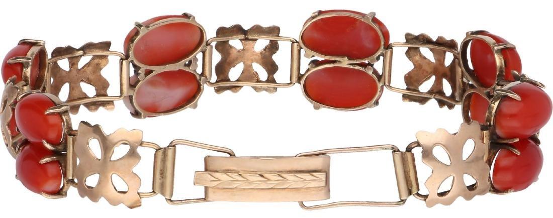 Antique bracelet rose gold, with blood coral - Below - 2