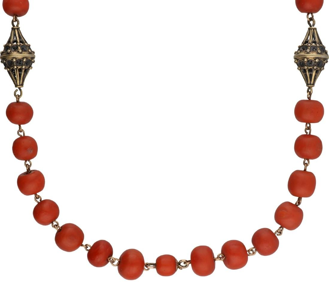 Antique necklace gold/silver, with blood coral - Below - 2