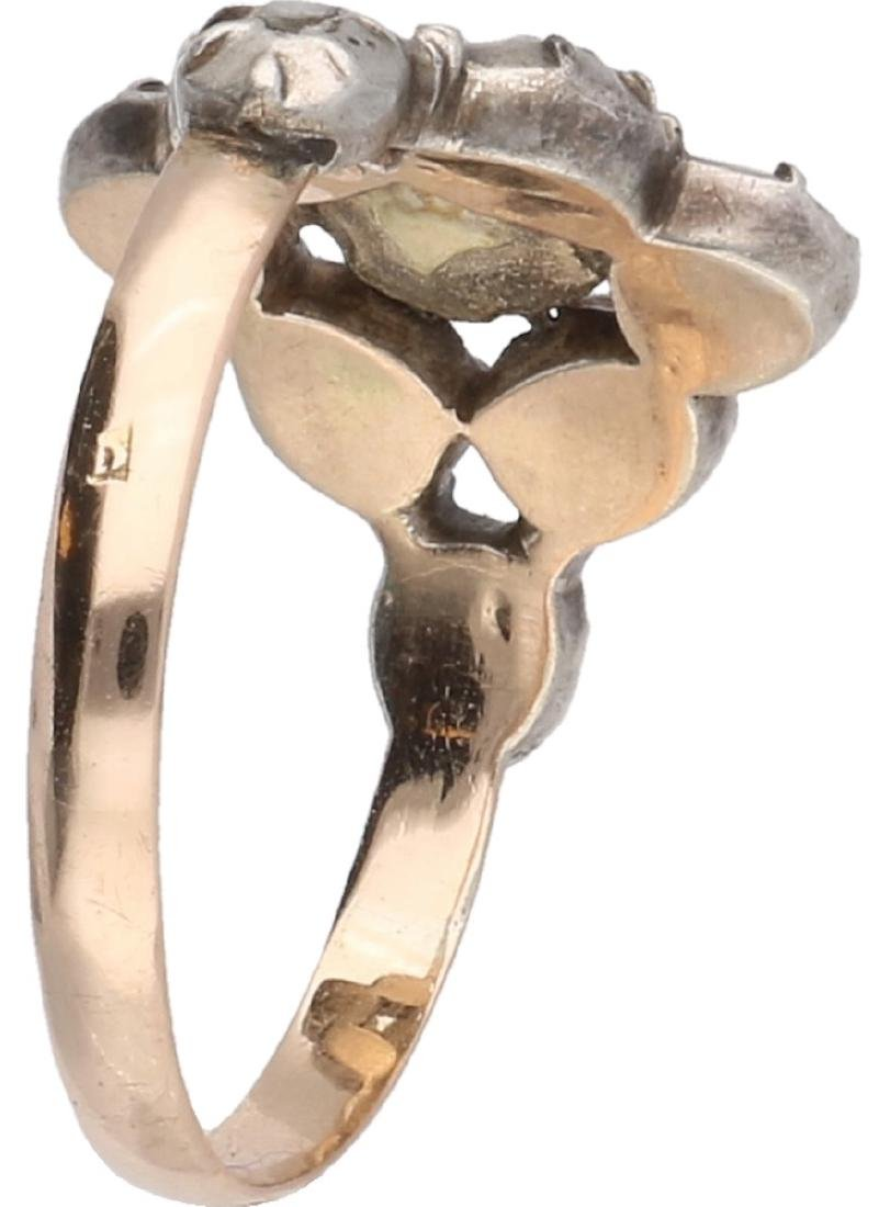 Antique ring yellow gold, with diamond - 14 ct. and - 2