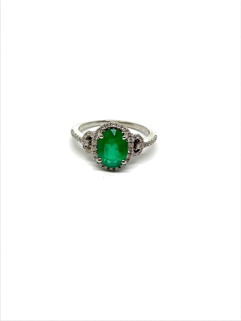14k Emerald/Diamond Ring White Gold