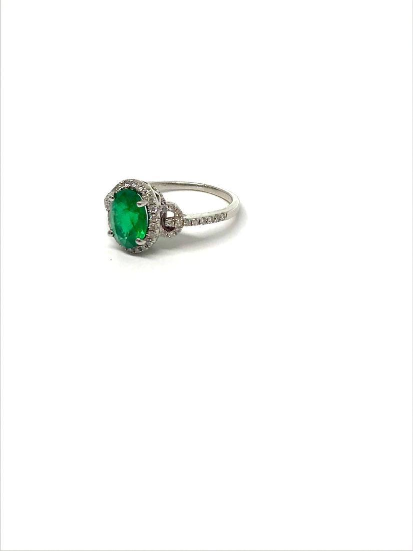 14k Emerald/Diamond Ring White Gold - 2