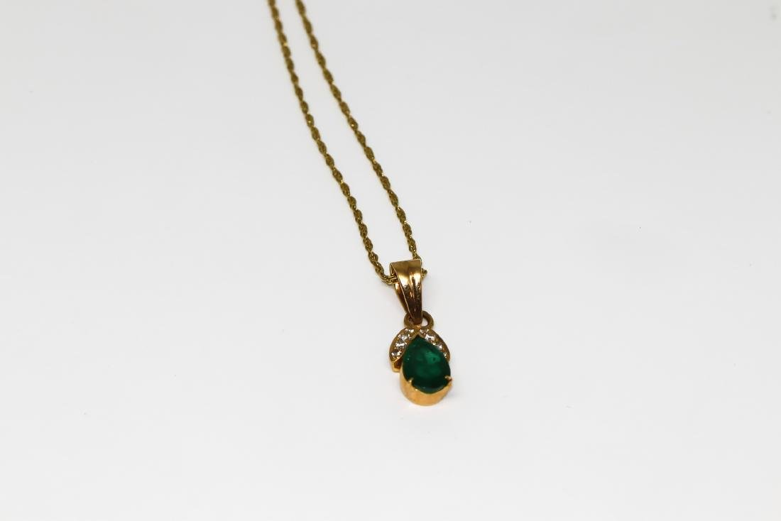 18k Emerald necklace with diamonds - 2