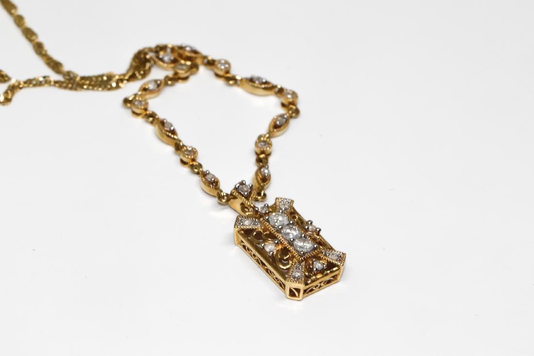 14k Vintage design diamond necklace - 2