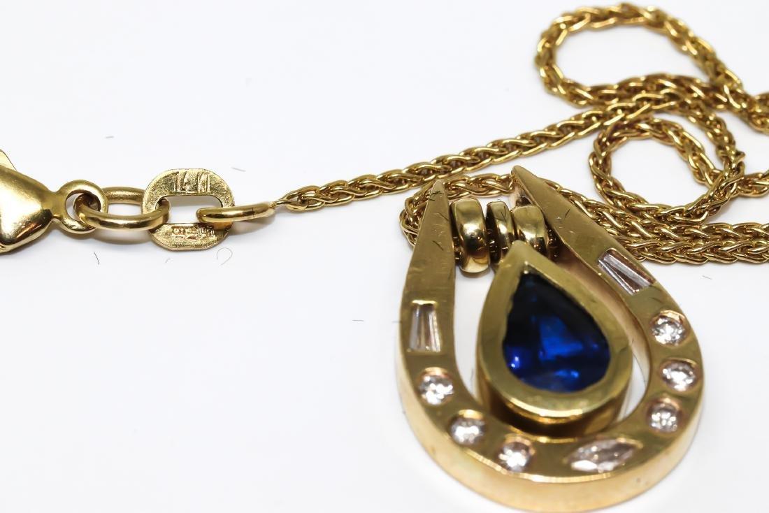14k Sapphire diamond necklace - 2