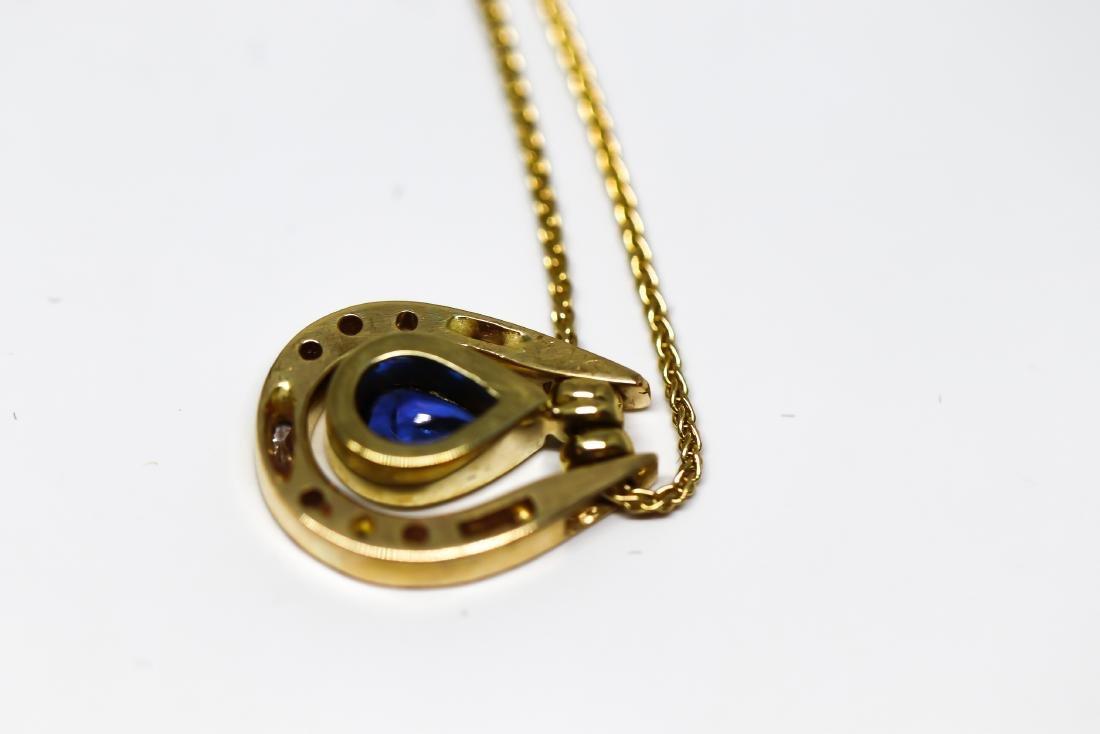 14k Sapphire diamond necklace - 4