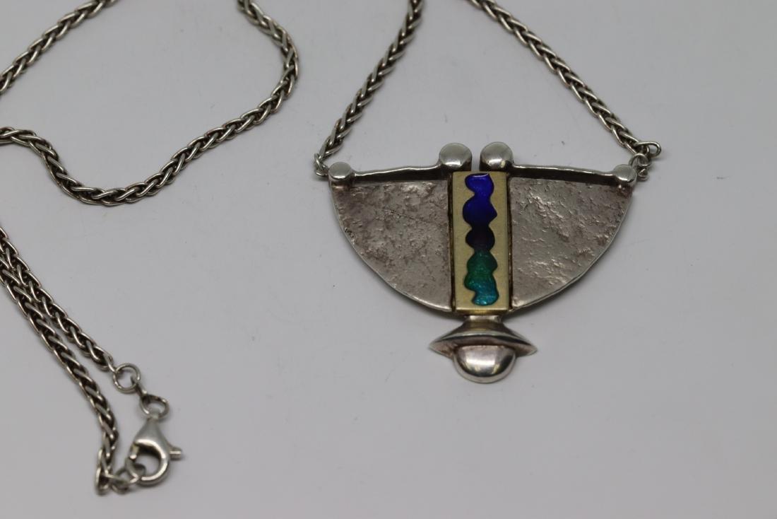 Art deco womens native american necklace 925 silver - 3