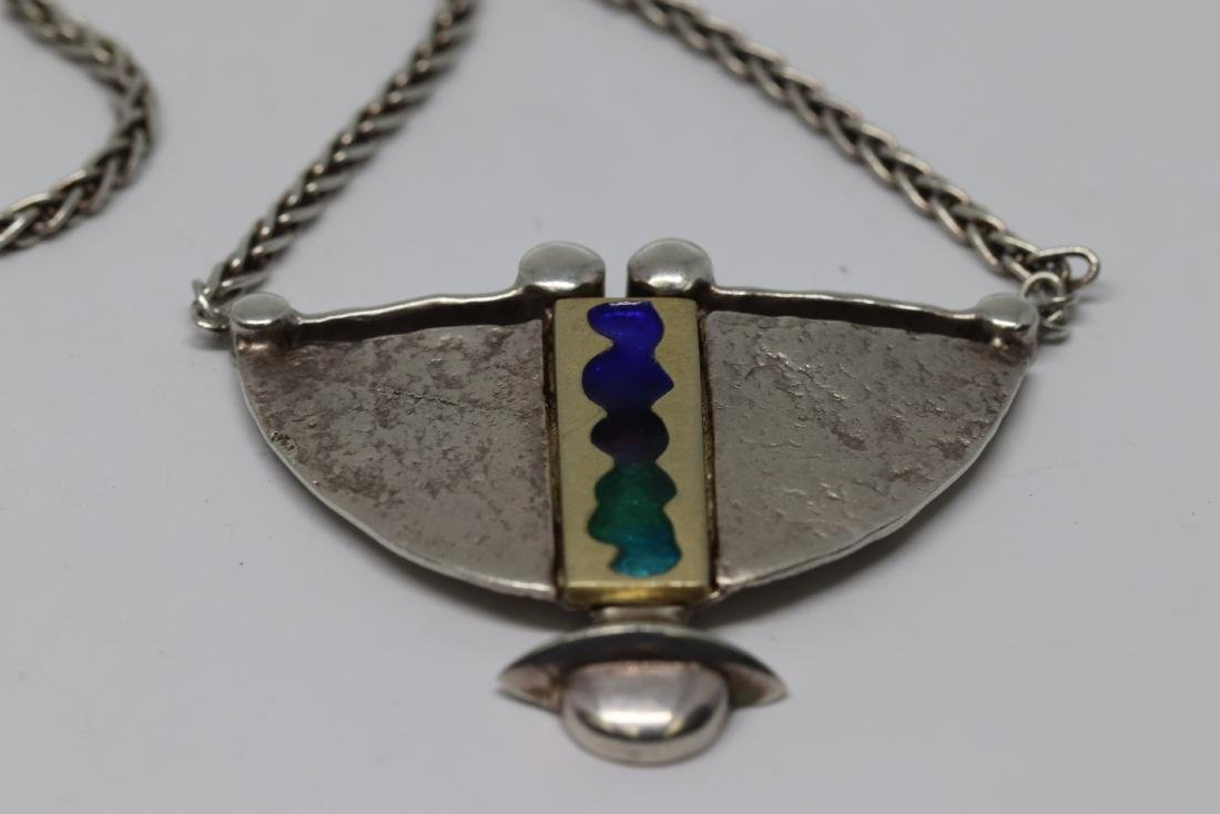 Art deco womens native american necklace 925 silver - 4