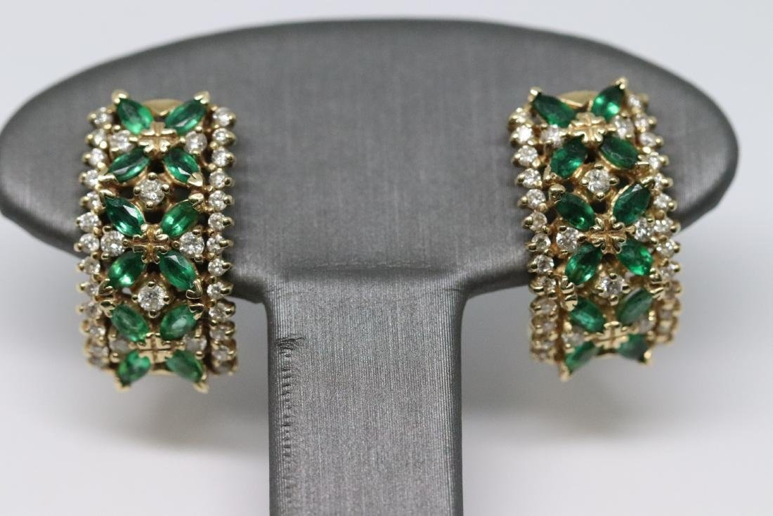 14Kt Diamond & Emerald Ring and Earrings