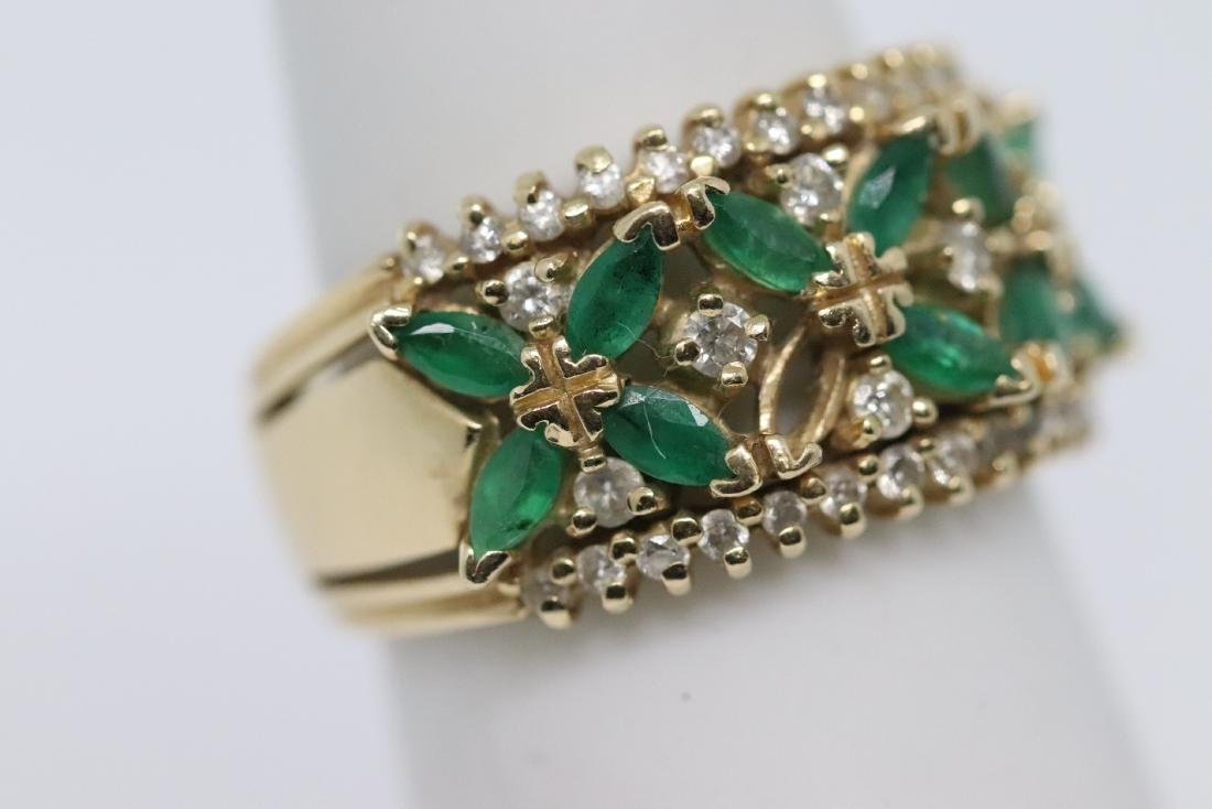 14Kt Diamond & Emerald Ring and Earrings - 8