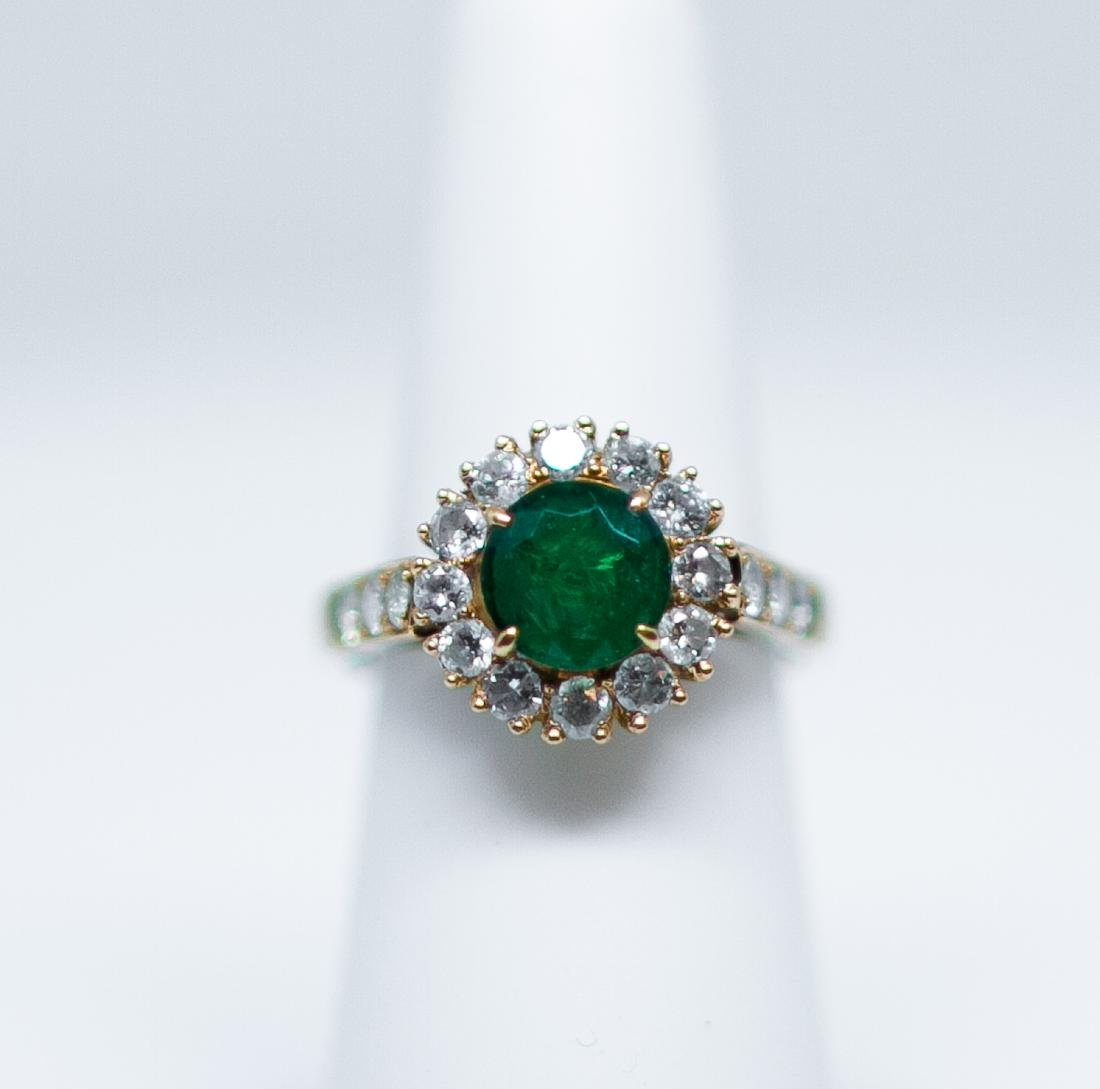 14k Emerald ring/ diamond