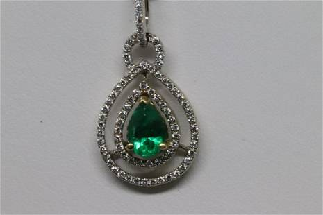Modern Design 14k Pendant Diamonds and Emarld