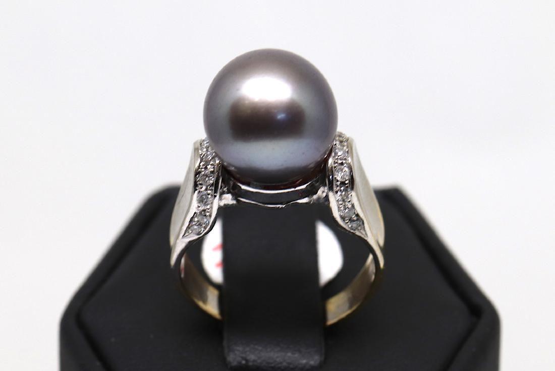 14k white gold tahitian pearl