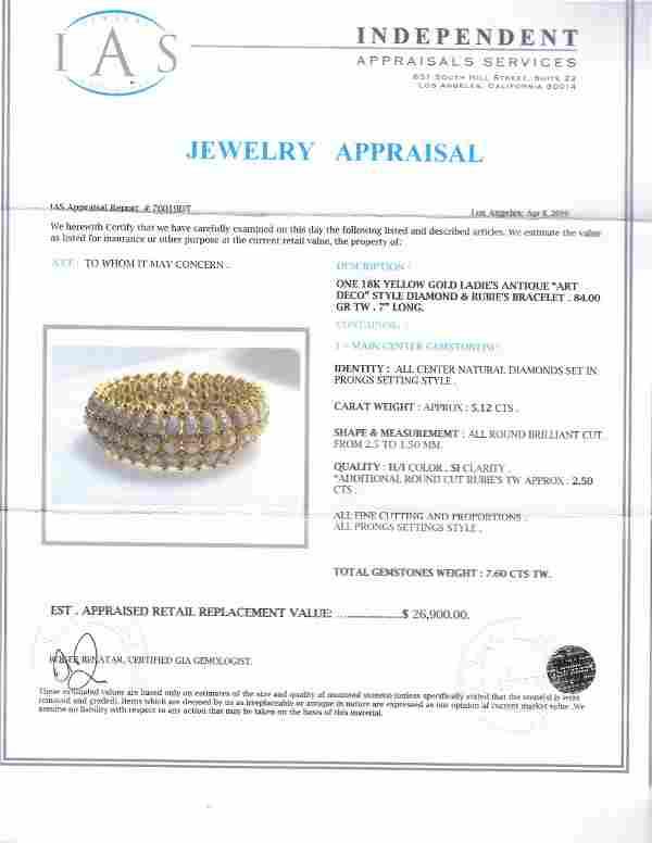 18k Art Deco Design Diamond Bracelet
