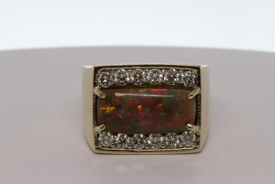 Black Opal/ Diamond Ring 14Kt