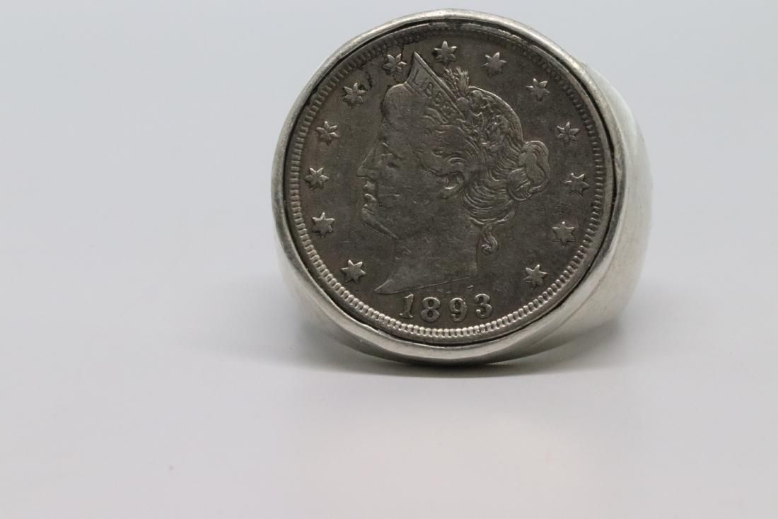 1893 Liberty V Nickel Silver Coin Set On Mens Ring