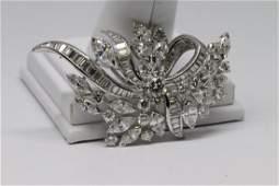 Platinum Art Deco Diamond Brooch 9.90tcw