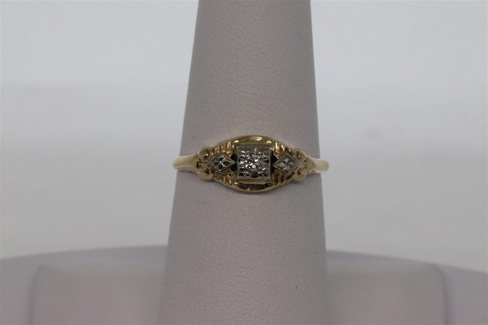 Art Deco Diamond Ring 14Kt