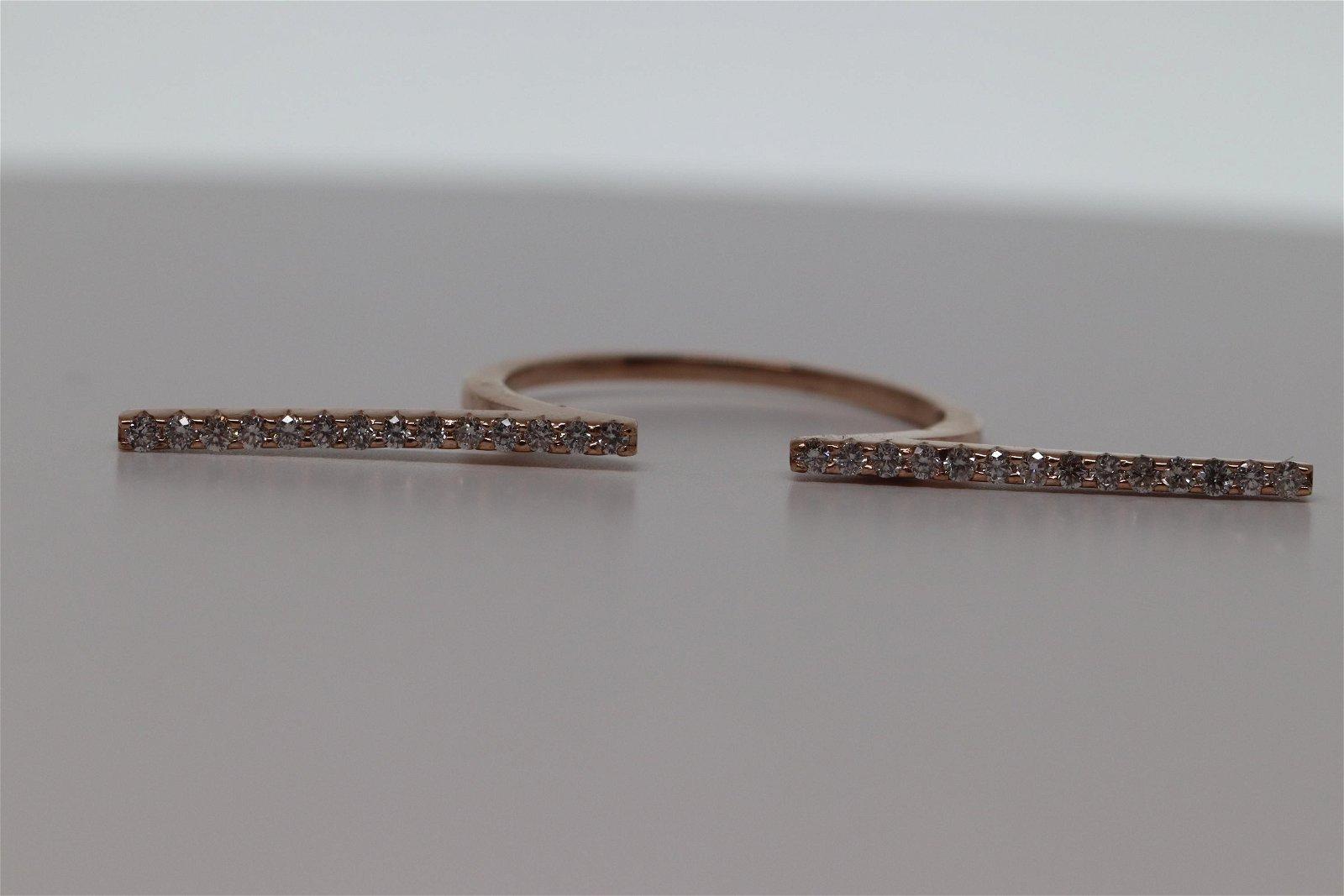 14kt Rose Gold Modern Diamond Ring
