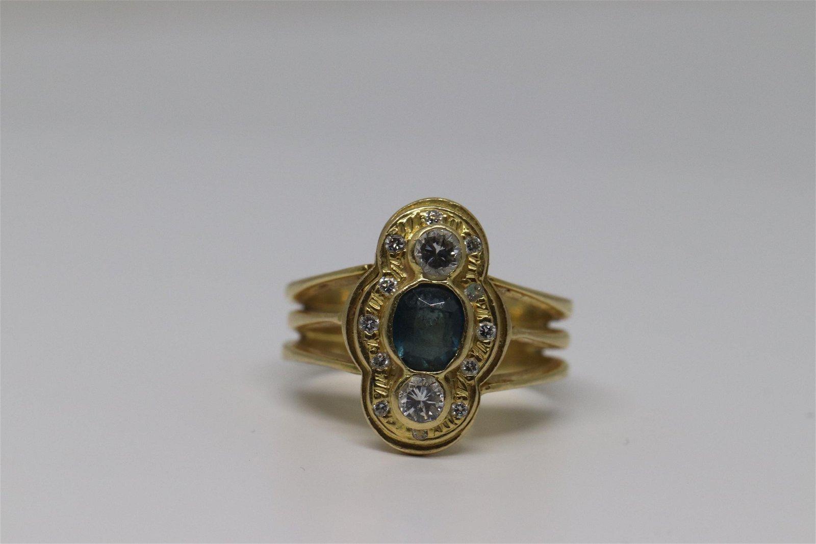 18kt Art Deco Sapphire & DiamondRing