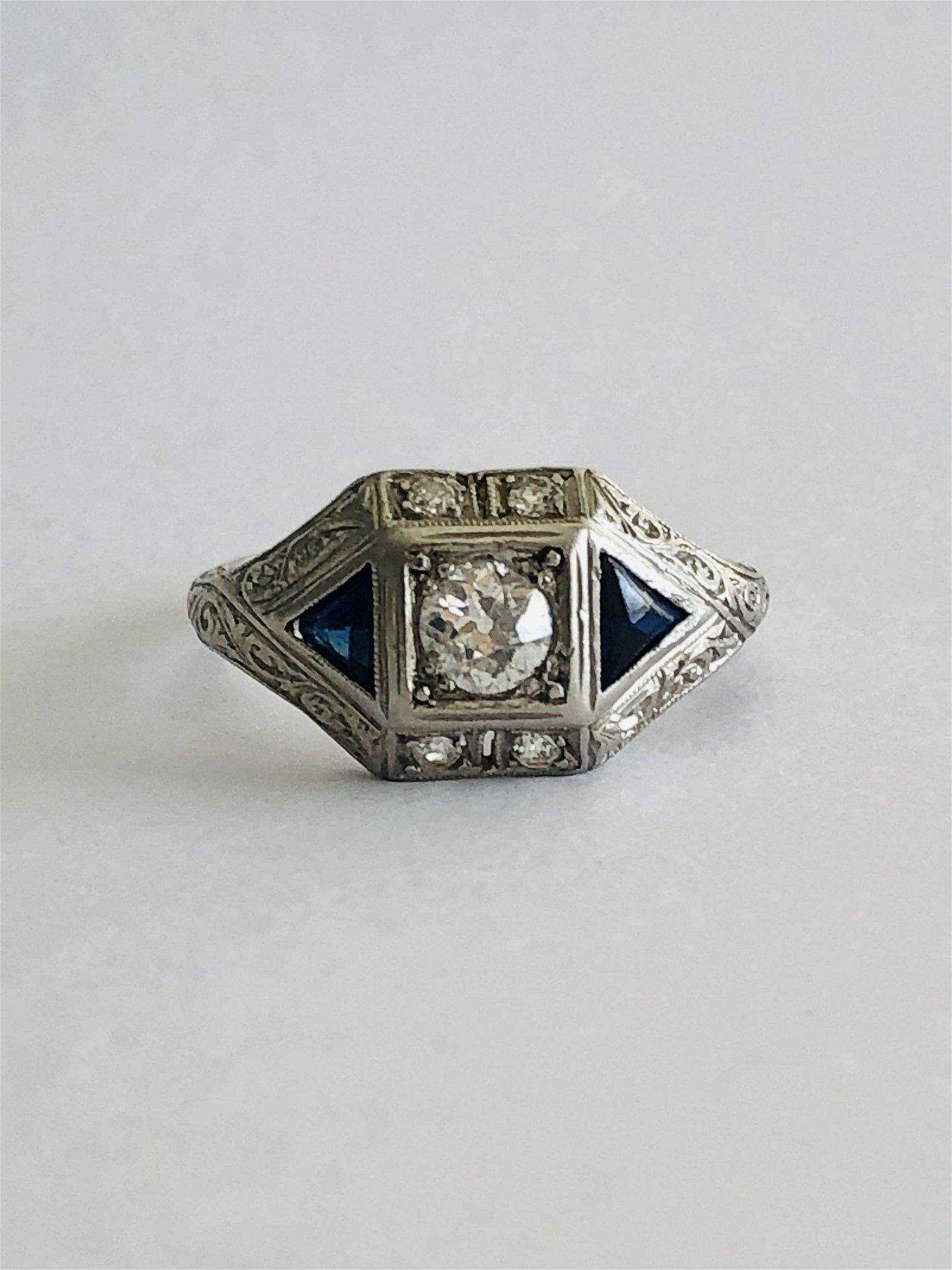 Platinum Art Deco Diamond & Sapphire Ring