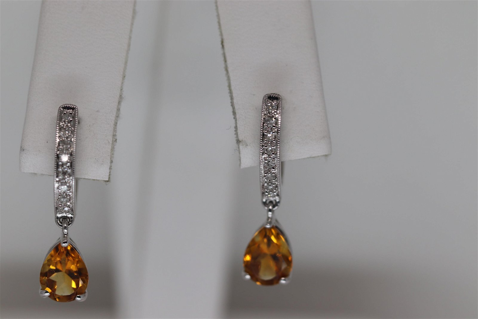 14Kt Ladies Diamond & Citrine Earrings