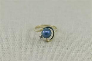 14KT Diamond w Pearl Ring