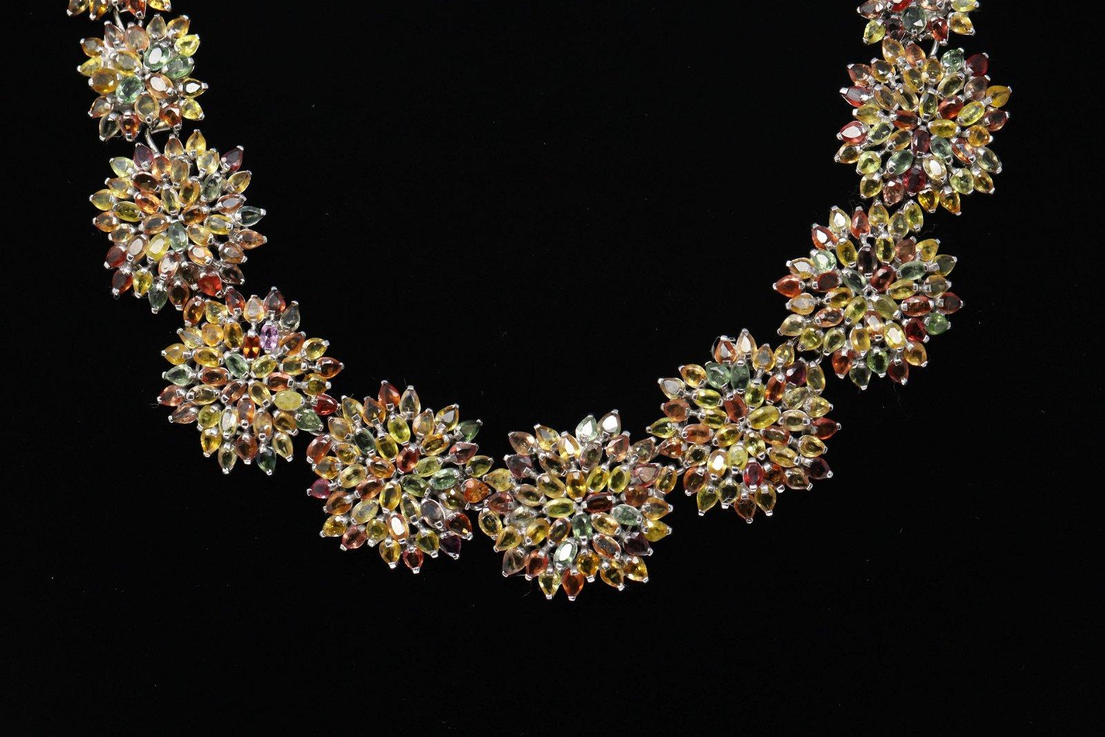Ladies 925 Silver Multi Color Flower Necklace