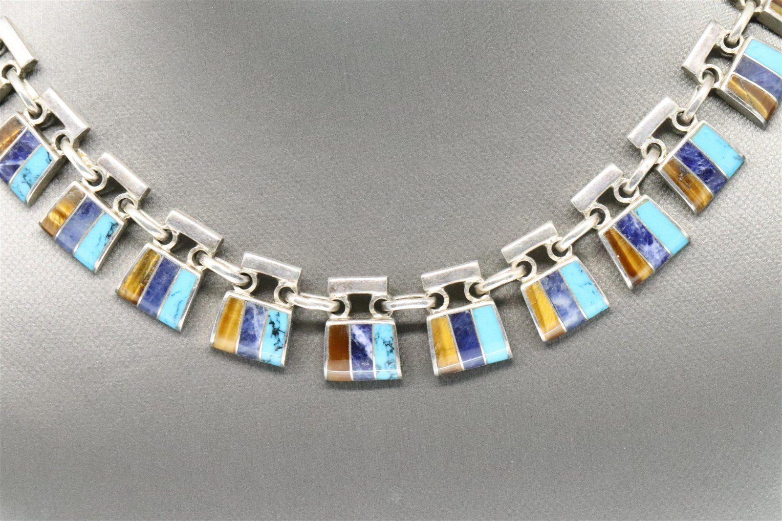 Sterling Silver & Multi-Stone Necklace Mexico Mexican