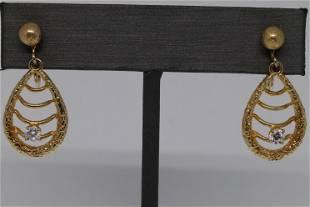 14K Art Deco Earring Design Diamond