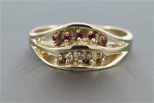 14kt Ladies Diamond Ruby Ring