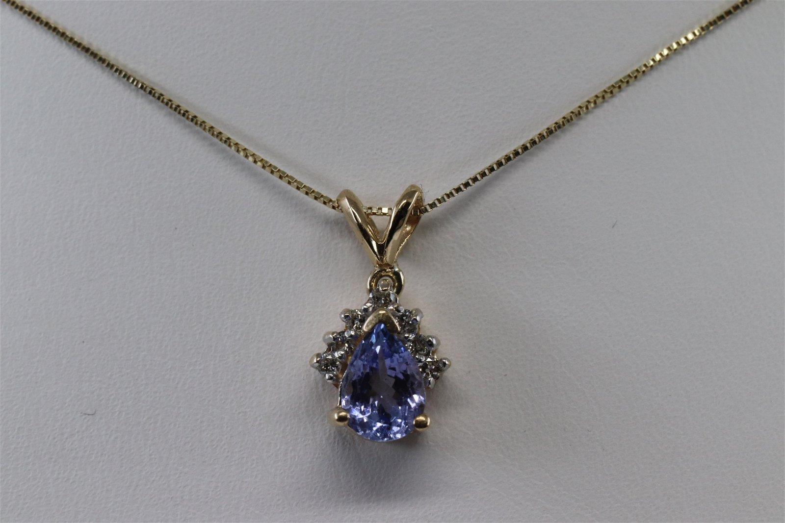 14KT Tanzanite w/ Diamond Charm Necklace