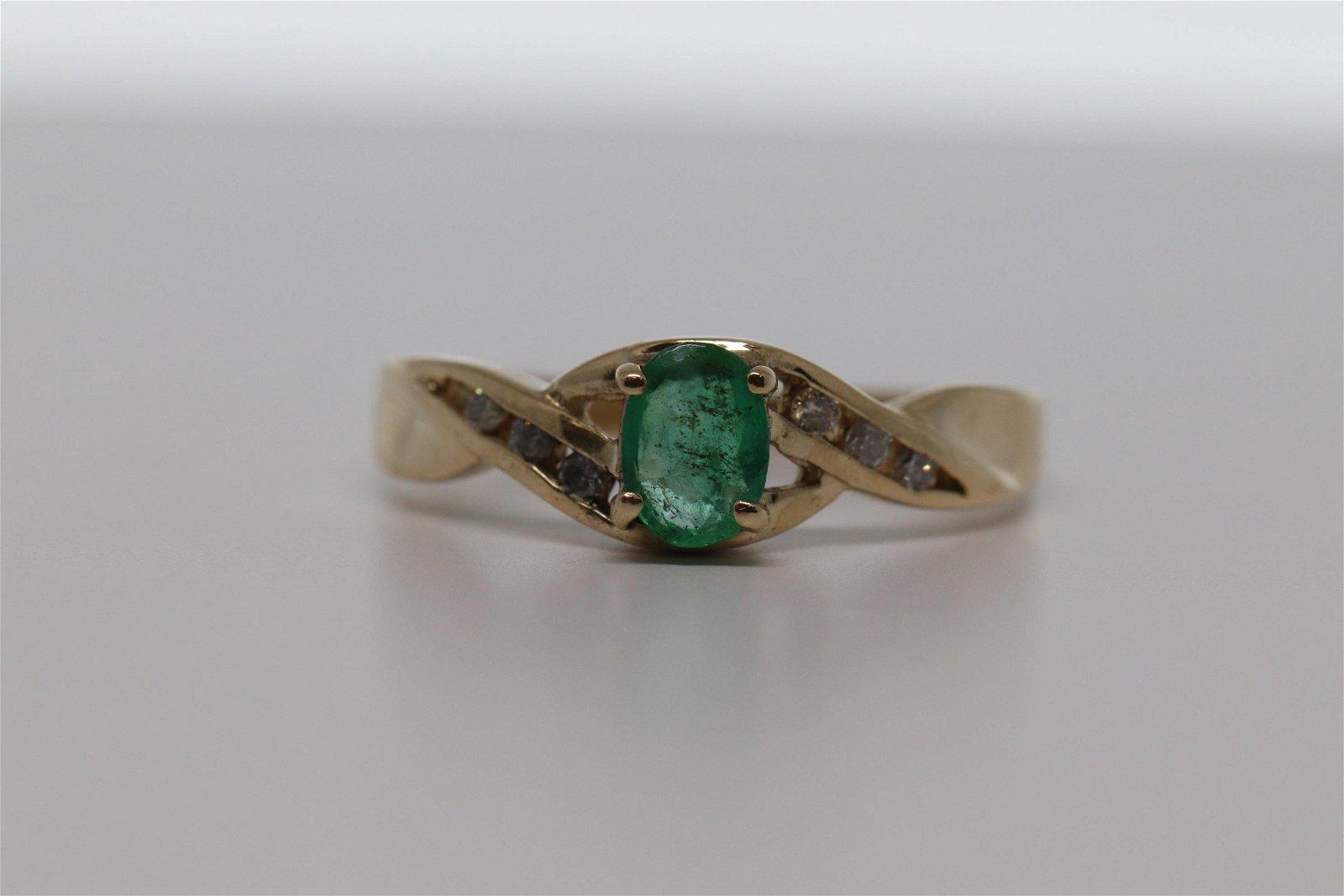 14KT Yellow Gold Diamond & Emerald Ring