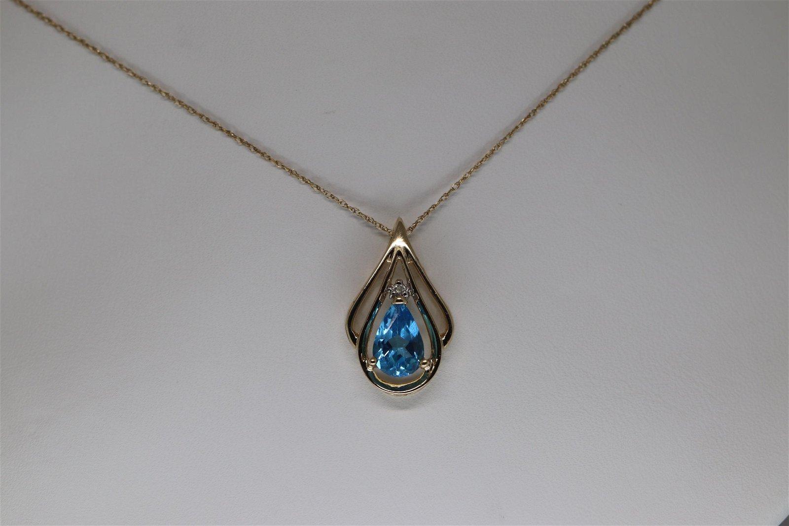 14Kt Diamond & Blue Topaz Necklace
