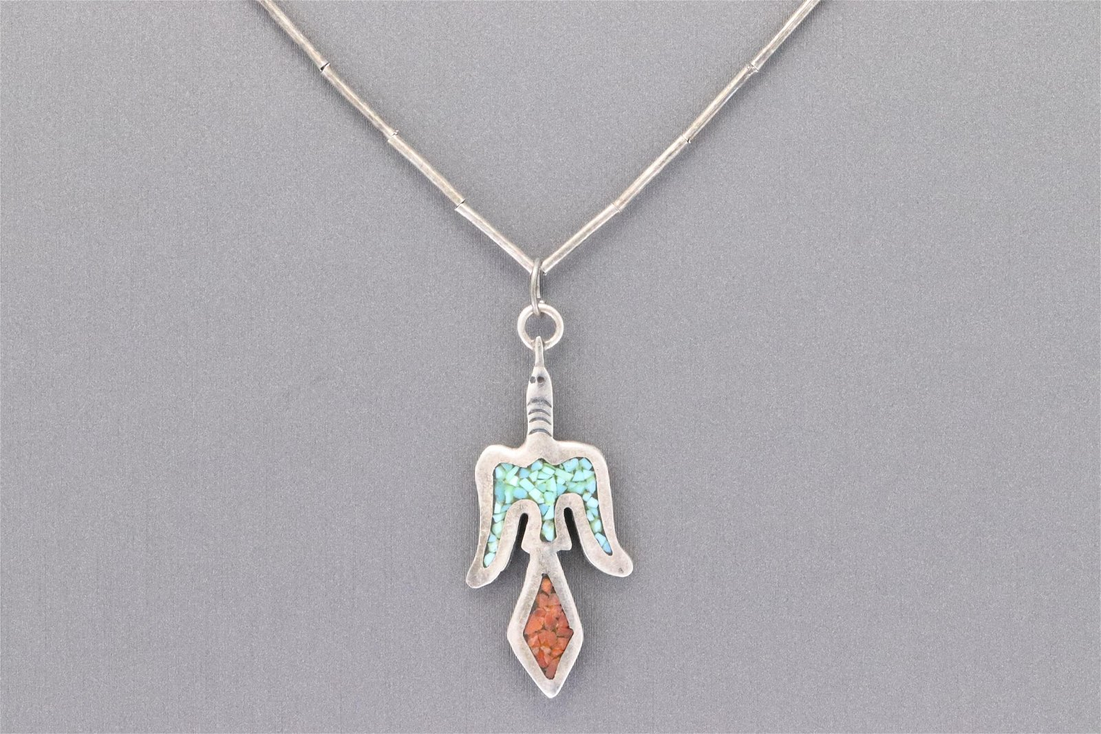 Peyote bird sterling silver Navajo pendant with
