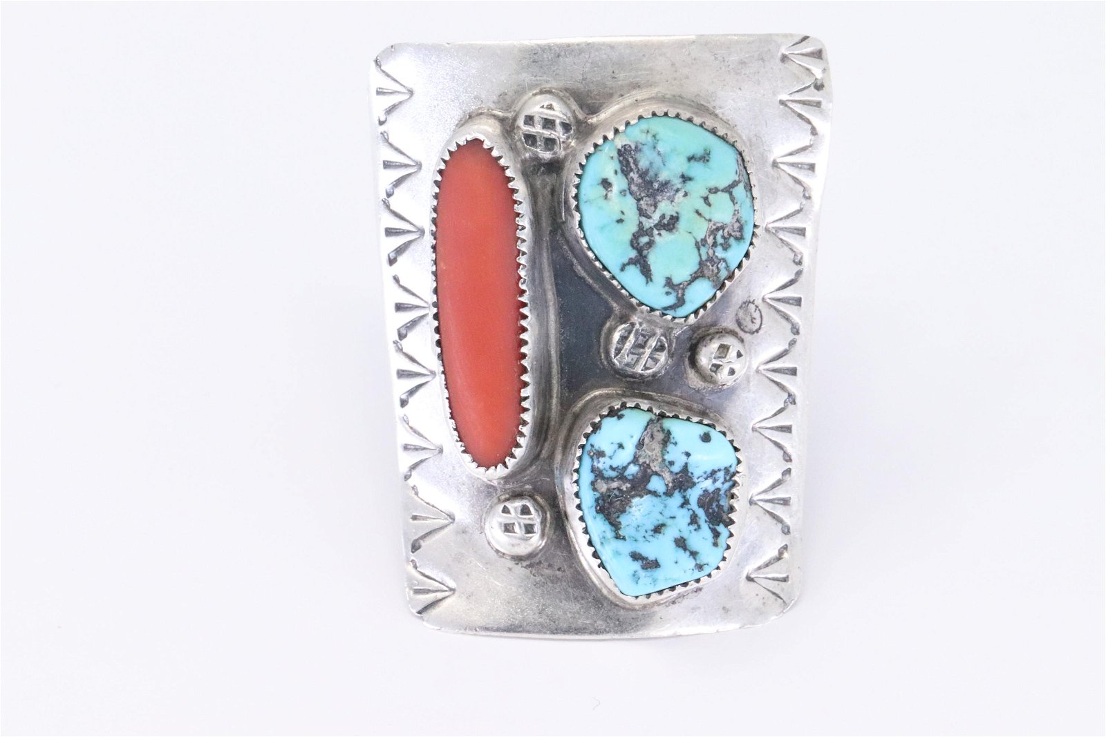 Signed Vintage NAVAJO Sterling Silver CORAL & TURQUOISE