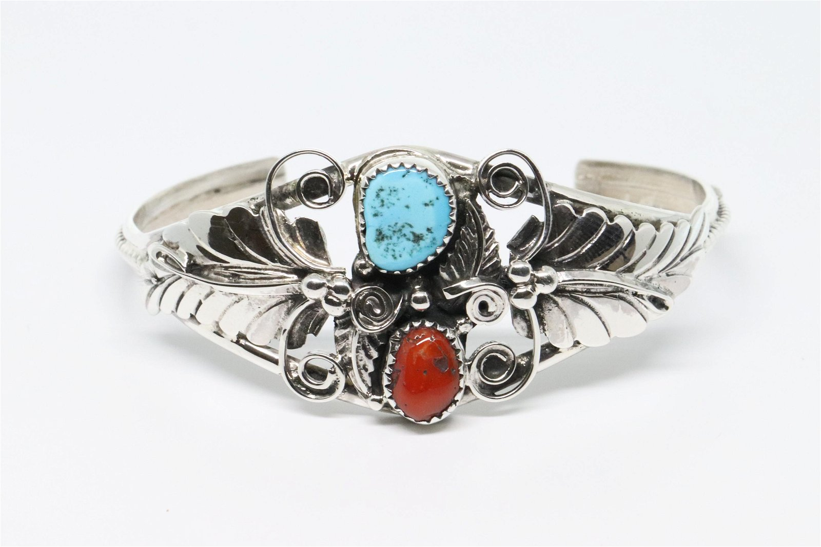 Sterling Silver Navajo Turquoise And Coral Bracelet.