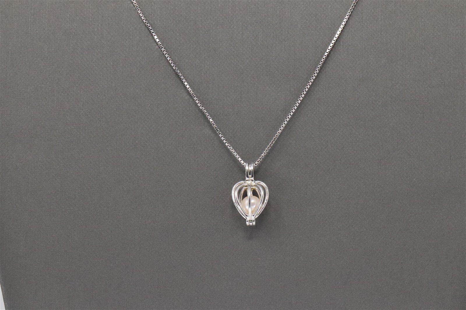 925 Silver Pearl Cage Pendant.