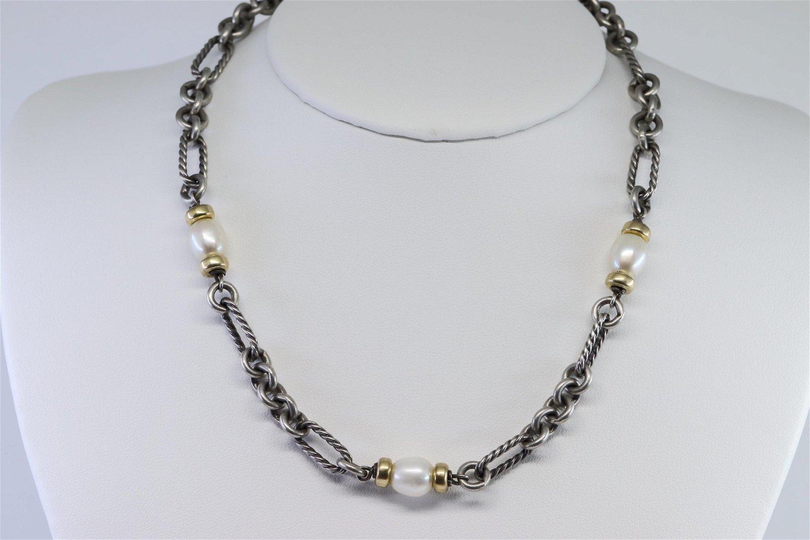 David Yurman 925 Silver and 18k Gold Accent Chain