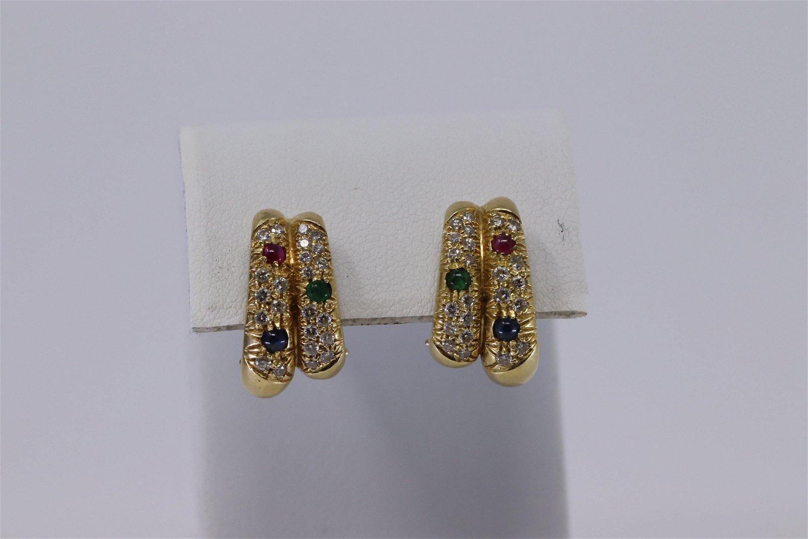 18Kt Estate Diamond   Ruby  Emerald Earrings