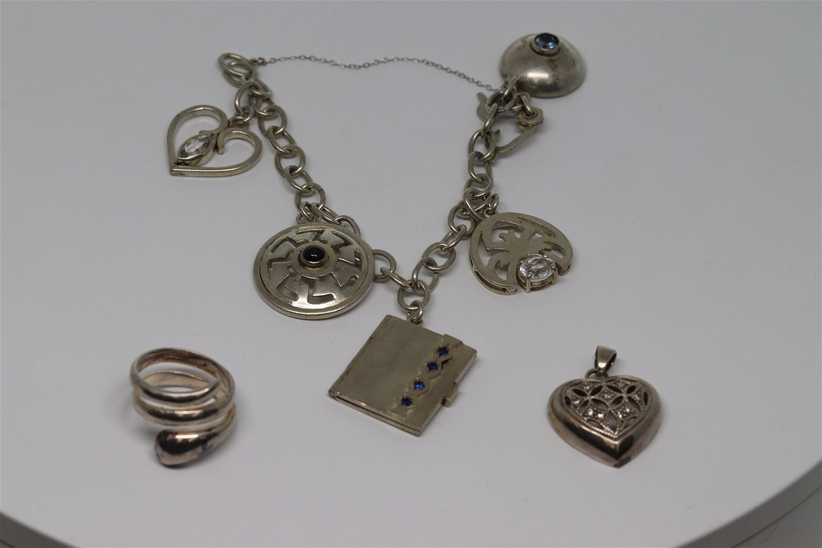 Lot Of 3 Ladies Charms Bracelet,snake ring,heart