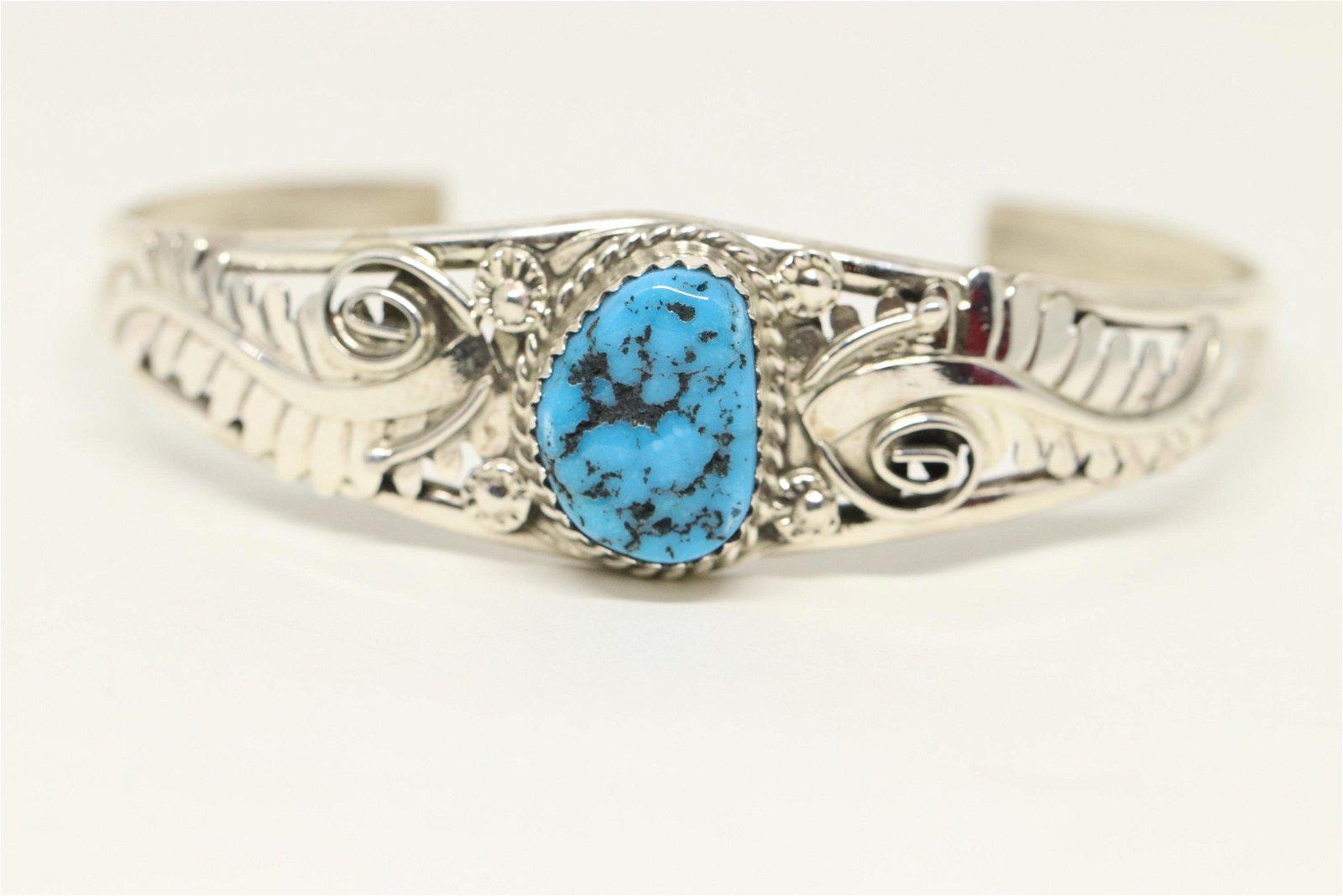 Navajo Sterling Silver Turquoise Bracelet - Renee
