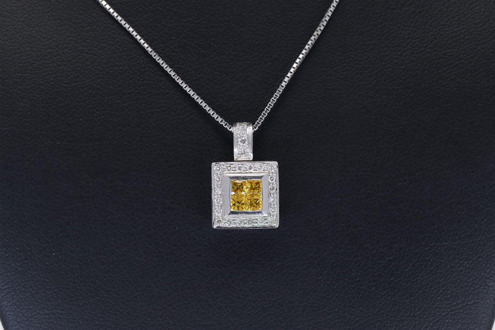 14T Ladies Diamond Pendant w/ Citrine