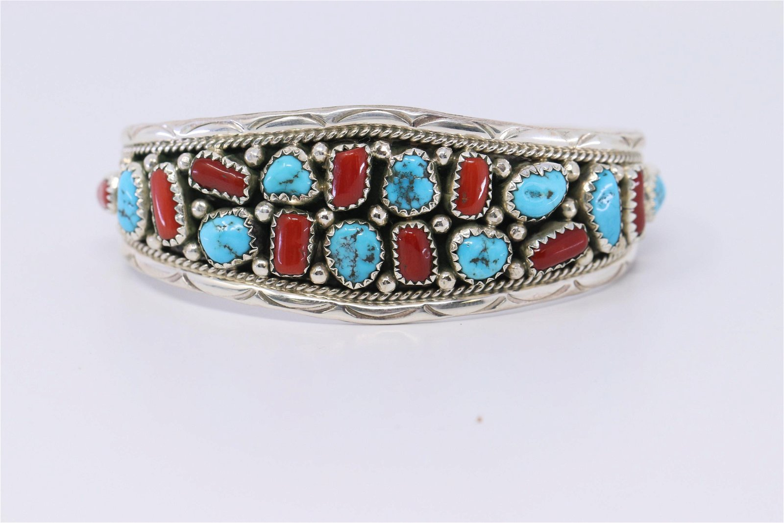 Navajo Handmade Sterling Silver Turquoise & Coral