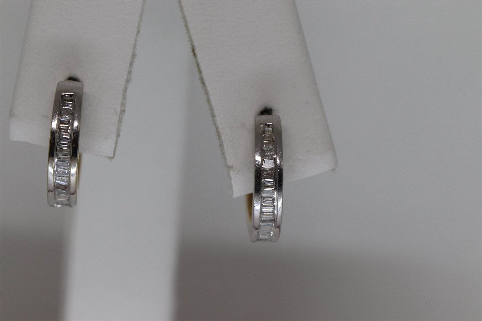 14Kt Ladies Diamond Hoop Earrings