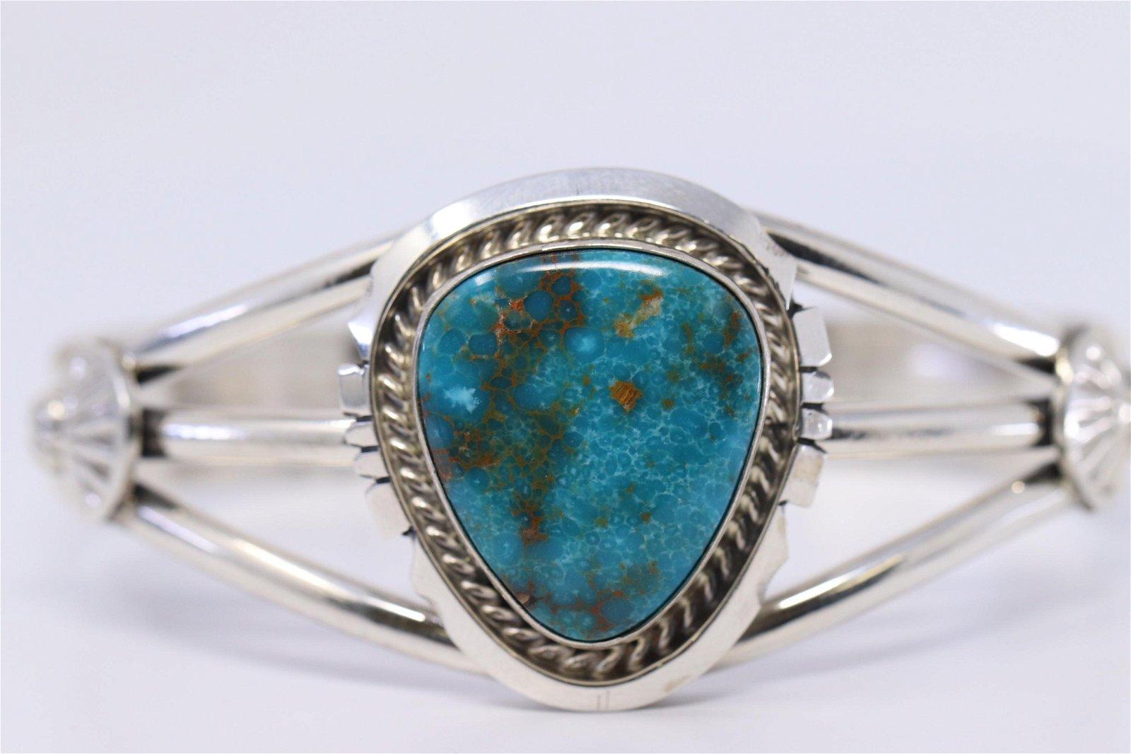 Navajo Handmade Sterling Silver Kingman Turquoise