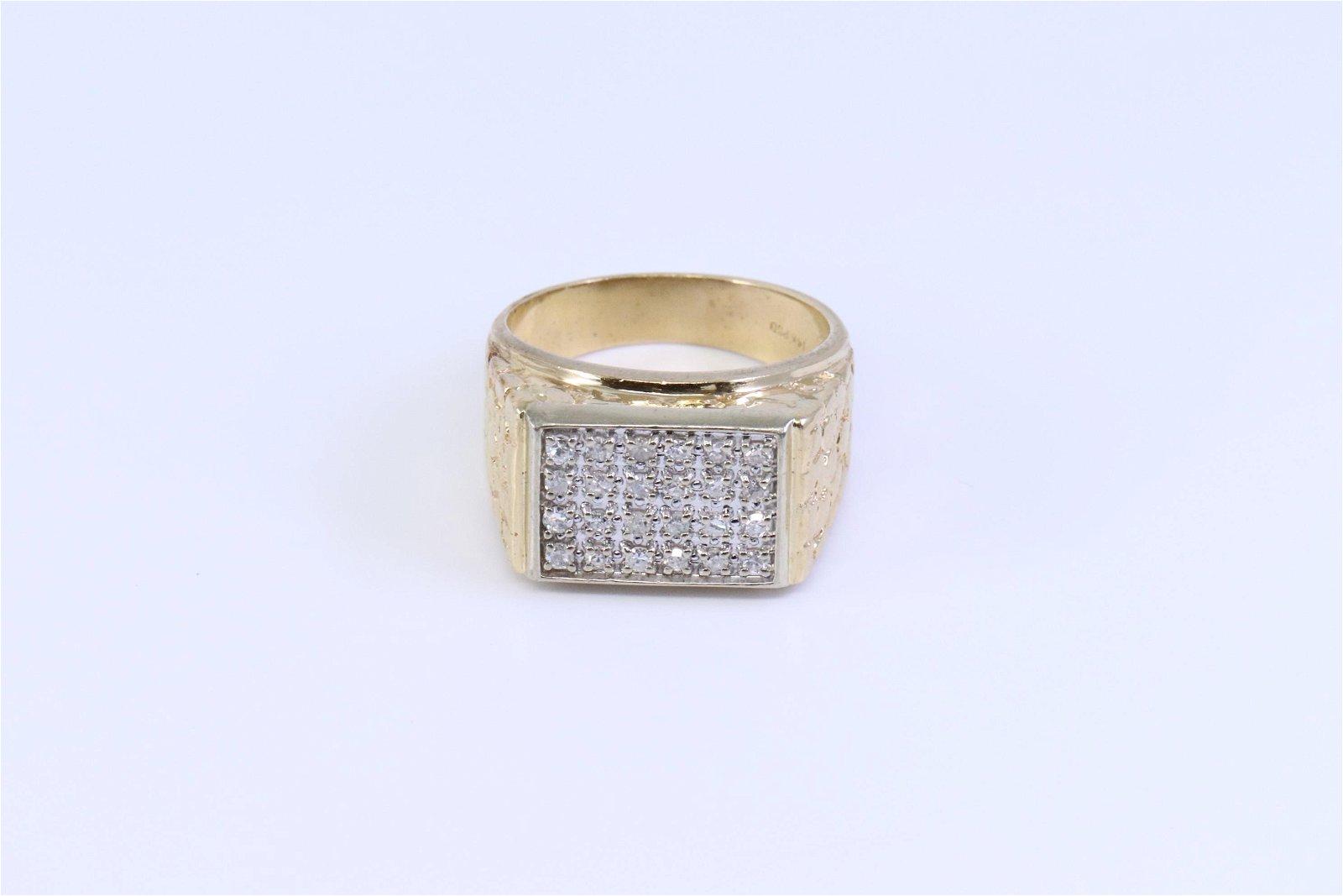 14KT Men's Diamond Nugget Ring