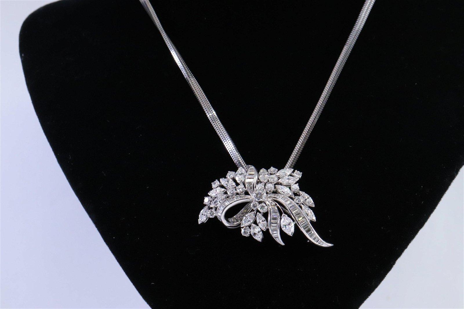 Platinum Art Deco Diamond Necklace / Brooch