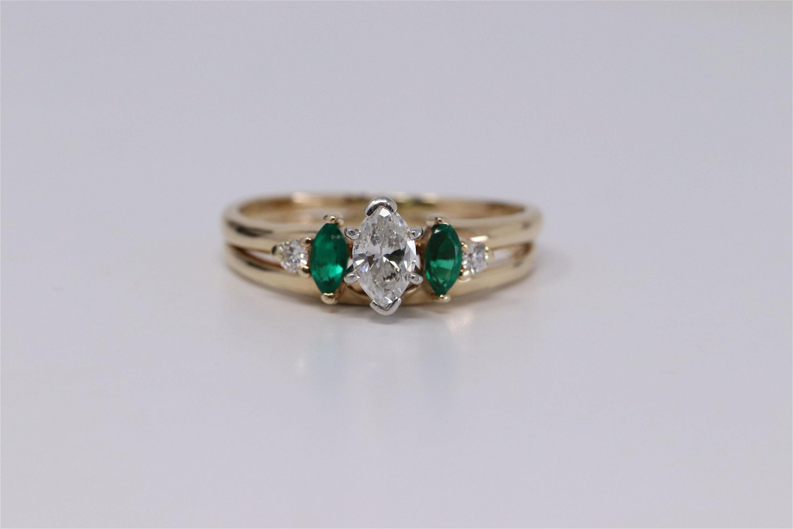 14Kt Yellow Gold Diamond & Emerald Ring